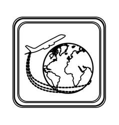 figure emblem planet earth with a plane close up vector image vector image