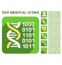 Genetical Code Icon and Medical Longshadow Icon vector image vector image