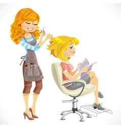 Hairdresser does a hairstyle to the client vector