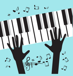 hands playing piano with notes music blue vector image vector image