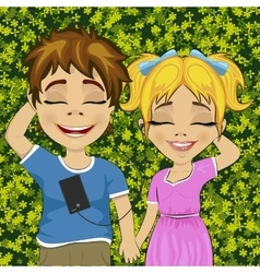 Little teenage boy and girl listening to music vector