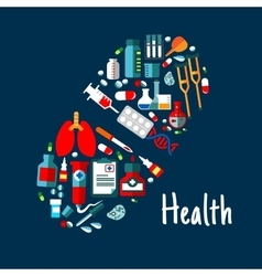 Medicines healthcare flat icons in shape of pill vector image vector image