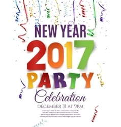 New Year 2017 party poster template vector image