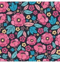 Night Kimono Blossom Seamless Pattern Background vector image