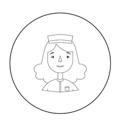 nurse icon in outline style isolated on white vector image vector image
