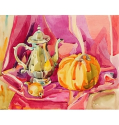 Original handmade watercolor painting still life vector