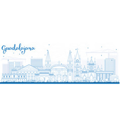 outline guadalajara skyline with blue buildings vector image