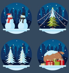 Pack of flat design christmas decorations vector image