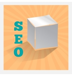 Paper origami cube on orange SEO icon with shadow vector image