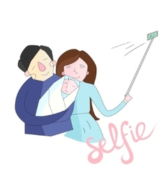 Selfie family photo color vector