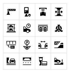 Set icons of parking vector