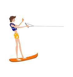 Side view of man standing on rafting board vector image vector image