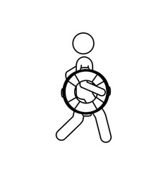 Silhouette pictogram male with lifeguard float vector