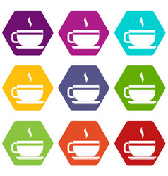 Tea cup and saucer icon set color hexahedron vector