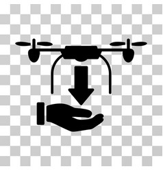 Unload drone hand icon vector