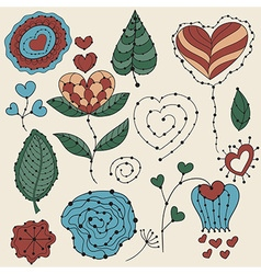 Valentines day floral design elementsv vector