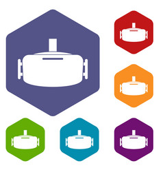 Vr device icons set hexagon vector