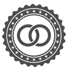 Wedding rings stamp flat icon vector