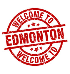 Welcome to edmonton red stamp vector