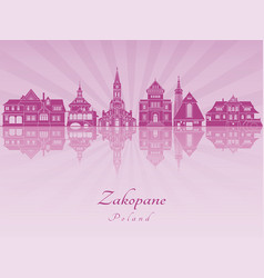zakopane skyline in purple radiant orchid vector image vector image