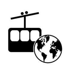 Funicular and earth globe icon vector