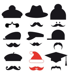 Mustache set with hats vector