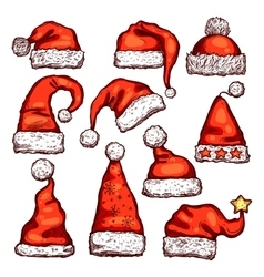 Santa red hat sketch for christmas holiday design vector