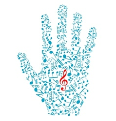 Human hand with musical notes and elements vector