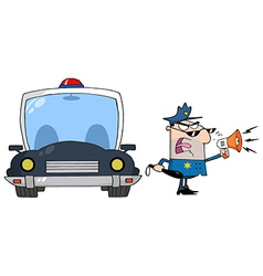 Traffic Police Officer Yelling Through A Megaphone vector image