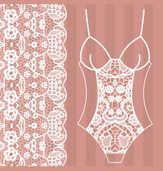 body lingerie lacy beautiful body vector image