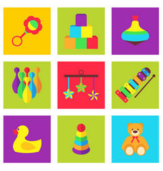 Color toys for kids vector