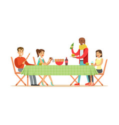 Happy friends enjoying barbeque cheerful people vector
