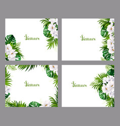 Set of holiday banners with green tropical palm vector
