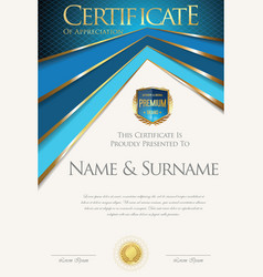 Colorful retro design certificate or diploma vector