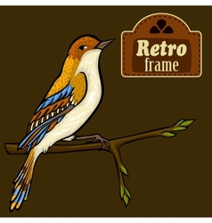 Vintage card with cartoon bird vector image