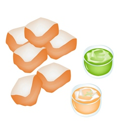 Cut loaf of bread with custard cream vector