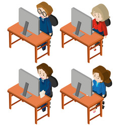 3d design for people working on computer vector