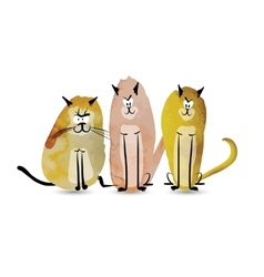 Funny cats watercolor sketch for your design vector