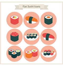 Flat big sushi set circle icons vector
