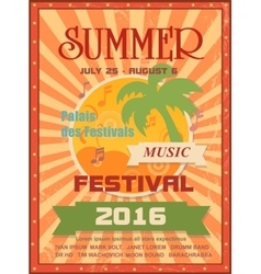 Summer music festival printable poster template or vector