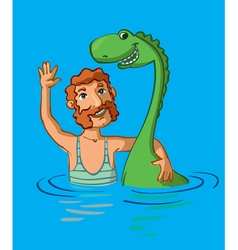 Loch ness monster and man vector