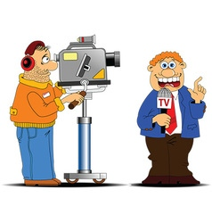 Media interview cartoon vector