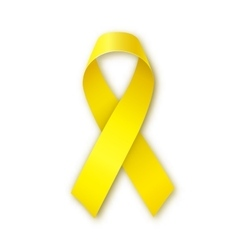 Yellow ribbon bone cancer troops support symbol vector