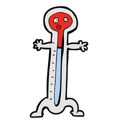 Comic cartoon thermometer vector