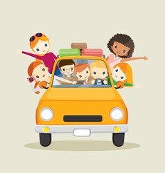 People on car driving to travel vector