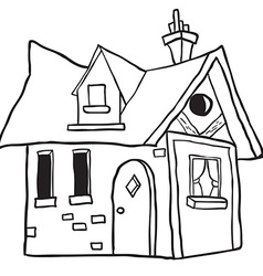 Simple black and white cute little house vector