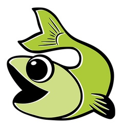 Green fish isolated vector