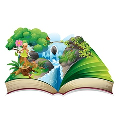 A book with an image of nature with a fairy vector image