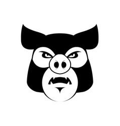 Angry pig evil boar grumpy hog aggressive piggy vector
