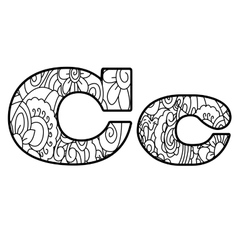 Anti coloring book alphabet the letter c vector